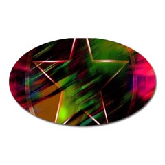 Colorful Background Star Oval Magnet by Simbadda