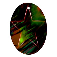 Colorful Background Star Oval Ornament (two Sides) by Simbadda