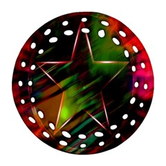 Colorful Background Star Round Filigree Ornament (two Sides) by Simbadda