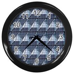 Snow Peak Abstract Blue Wallpaper Wall Clocks (black)