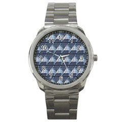 Snow Peak Abstract Blue Wallpaper Sport Metal Watch by Simbadda