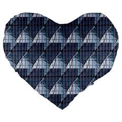 Snow Peak Abstract Blue Wallpaper Large 19  Premium Heart Shape Cushions by Simbadda