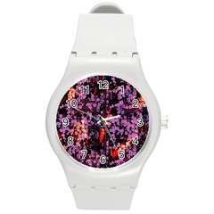 Abstract Painting Digital Graphic Art Round Plastic Sport Watch (m) by Simbadda