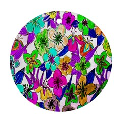 Floral Colorful Background Of Hand Drawn Flowers Ornament (round) by Simbadda
