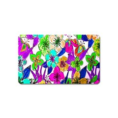 Floral Colorful Background Of Hand Drawn Flowers Magnet (Name Card) by Simbadda