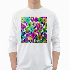 Floral Colorful Background Of Hand Drawn Flowers White Long Sleeve T-Shirts by Simbadda