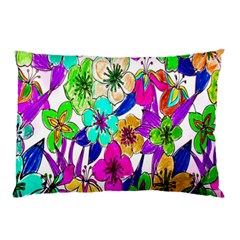 Floral Colorful Background Of Hand Drawn Flowers Pillow Case by Simbadda
