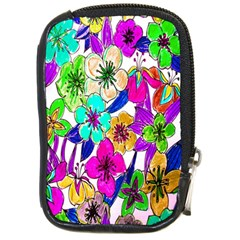 Floral Colorful Background Of Hand Drawn Flowers Compact Camera Cases by Simbadda