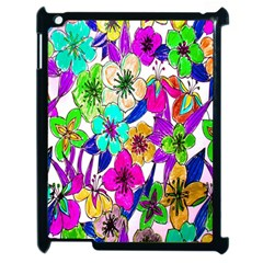 Floral Colorful Background Of Hand Drawn Flowers Apple Ipad 2 Case (black) by Simbadda
