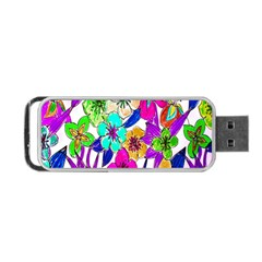 Floral Colorful Background Of Hand Drawn Flowers Portable Usb Flash (one Side) by Simbadda