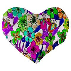 Floral Colorful Background Of Hand Drawn Flowers Large 19  Premium Heart Shape Cushions by Simbadda