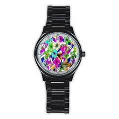 Floral Colorful Background Of Hand Drawn Flowers Stainless Steel Round Watch by Simbadda