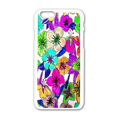 Floral Colorful Background Of Hand Drawn Flowers Apple Iphone 6/6s White Enamel Case by Simbadda