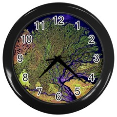 Lena River Delta A Photo Of A Colorful River Delta Taken From A Satellite Wall Clocks (black)