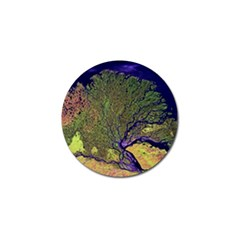 Lena River Delta A Photo Of A Colorful River Delta Taken From A Satellite Golf Ball Marker (10 Pack) by Simbadda