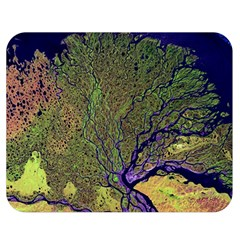 Lena River Delta A Photo Of A Colorful River Delta Taken From A Satellite Double Sided Flano Blanket (medium)  by Simbadda