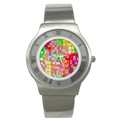 Abstract Polka Dot Pattern Digitally Created Abstract Background Pattern With An Urban Feel Stainless Steel Watch by Simbadda