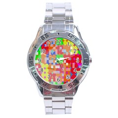 Abstract Polka Dot Pattern Digitally Created Abstract Background Pattern With An Urban Feel Stainless Steel Analogue Watch