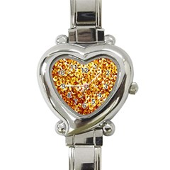 Yellow Abstract Background Heart Italian Charm Watch by Simbadda