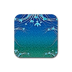Floral 2d Illustration Background Rubber Coaster (square)  by Simbadda