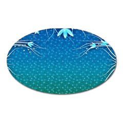 Floral 2d Illustration Background Oval Magnet by Simbadda