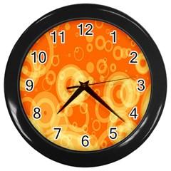 Retro Orange Circle Background Abstract Wall Clocks (black) by Nexatart