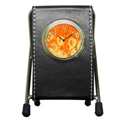 Retro Orange Circle Background Abstract Pen Holder Desk Clocks by Nexatart