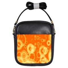 Retro Orange Circle Background Abstract Girls Sling Bags by Nexatart