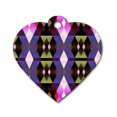 Geometric Abstract Background Art Dog Tag Heart (one Side) by Nexatart