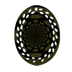 Dark Portal Fractal Esque Background Oval Filigree Ornament (two Sides) by Nexatart