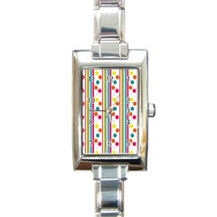 Stripes And Polka Dots Colorful Pattern Wallpaper Background Rectangle Italian Charm Watch by Nexatart