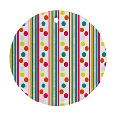 Stripes And Polka Dots Colorful Pattern Wallpaper Background Ornament (round) by Nexatart