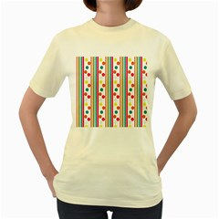 Stripes And Polka Dots Colorful Pattern Wallpaper Background Women s Yellow T Shirt by Nexatart