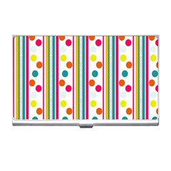 Stripes And Polka Dots Colorful Pattern Wallpaper Background Business Card Holders by Nexatart