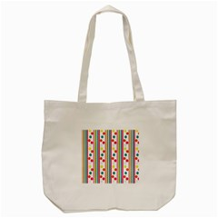 Stripes And Polka Dots Colorful Pattern Wallpaper Background Tote Bag (cream) by Nexatart