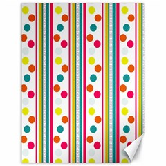 Stripes And Polka Dots Colorful Pattern Wallpaper Background Canvas 18  X 24   by Nexatart