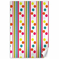 Stripes And Polka Dots Colorful Pattern Wallpaper Background Canvas 20  X 30   by Nexatart