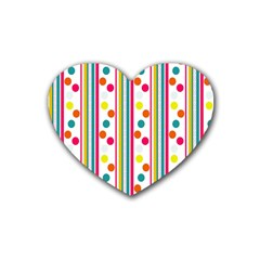 Stripes And Polka Dots Colorful Pattern Wallpaper Background Rubber Coaster (heart)  by Nexatart
