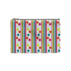 Stripes And Polka Dots Colorful Pattern Wallpaper Background Cosmetic Bag (medium)  by Nexatart