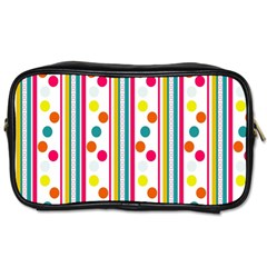 Stripes And Polka Dots Colorful Pattern Wallpaper Background Toiletries Bags 2 Side by Nexatart