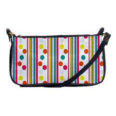 Stripes And Polka Dots Colorful Pattern Wallpaper Background Shoulder Clutch Bags by Nexatart