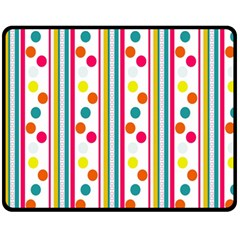 Stripes And Polka Dots Colorful Pattern Wallpaper Background Fleece Blanket (medium)  by Nexatart