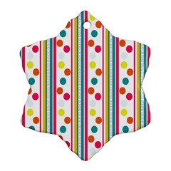 Stripes And Polka Dots Colorful Pattern Wallpaper Background Ornament (snowflake) by Nexatart