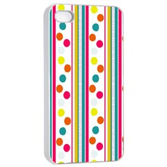 Stripes And Polka Dots Colorful Pattern Wallpaper Background Apple Iphone 4/4s Seamless Case (white) by Nexatart