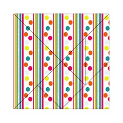 Stripes And Polka Dots Colorful Pattern Wallpaper Background Acrylic Tangram Puzzle (6  X 6 ) by Nexatart
