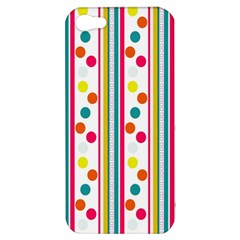 Stripes And Polka Dots Colorful Pattern Wallpaper Background Apple Iphone 5 Hardshell Case by Nexatart