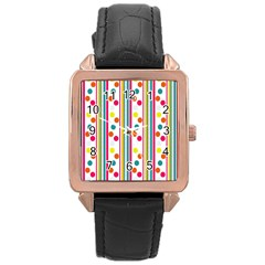 Stripes And Polka Dots Colorful Pattern Wallpaper Background Rose Gold Leather Watch  by Nexatart
