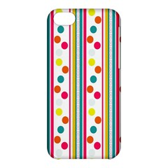 Stripes And Polka Dots Colorful Pattern Wallpaper Background Apple Iphone 5c Hardshell Case by Nexatart