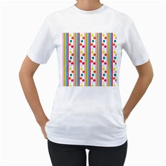 Stripes And Polka Dots Colorful Pattern Wallpaper Background Women s T Shirt (white)  by Nexatart