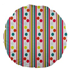 Stripes And Polka Dots Colorful Pattern Wallpaper Background Large 18  Premium Flano Round Cushions by Nexatart